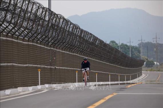Hàng rào biên giới liên Triều tại đảo Gyodong, Hàn Quốc ngày 18/6/2020. Ảnh: AFP/TTXVN