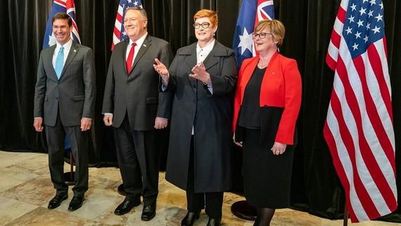 Bộ trưởng Quốc phòng và Ngoại giao Mỹ - Úc trong cuộc đối thoại năm 2019. @BỘ NGOẠI GIAO MỸ