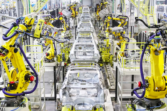 Quang cảnh dây chuyền sản xuất EV của Evergrande. Tập đoàn đã đưa chiếc xe điện đầu tiên của mình, Nevs 93, vào sản xuất. Ảnh: Handout