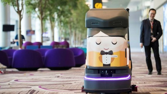 An automated robotic cleaner at Changi Airport in Singapore. The city-state leads south-east Asia in AI adoption, and hospitality is a key sector for the technology © Bloomberg