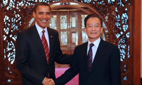 Obama gặp thủ tướng Trung Quốc Ôn Gia Bảo năm 2009 - Ảnh: Tân Hoa Xã