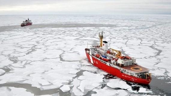 Những con tàu đang hoạt động tại Bắc cực. (Ảnh: US Coast Guard)