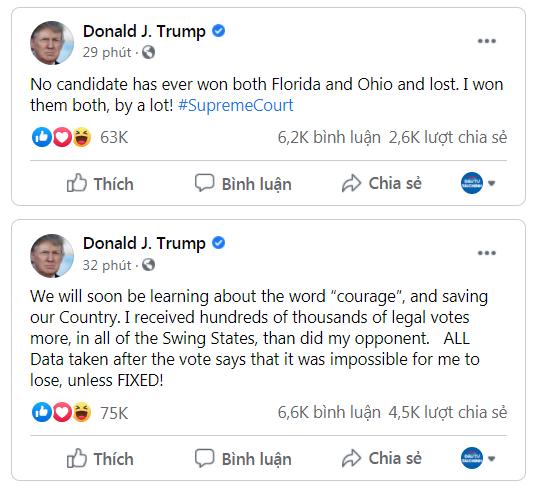 Các bài đăng Facebook hôm 9/12/2020 của TT Trump. (Ảnh chụp màn hình)