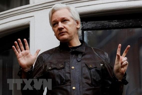 Nhà sáng lập trang mạng WikiLeaks, ông Julian Assange tại sứ quán Ecuador ở London, Anh ngày 19/5/2017. (Ảnh: Reuters/TTXVN)