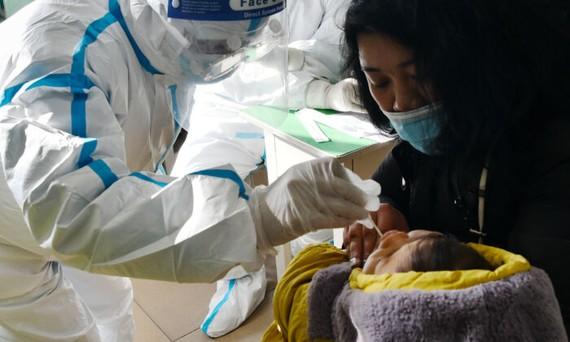 Một nhân viên y tế lấy mẫu tăm bông từ trẻ sơ sinh để kiểm tra COVID-19 ở Thạch Gia Trang, tỉnh Hà Bắc, Trung Quốc, vào ngày 7 tháng 1 năm 2021. (STR / CNS / AFP qua Getty Images)