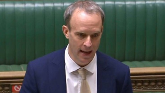 """Dominic Raab told MPs: """"Our aim is that no company that profits from forced labour in Xinjiang can do business in the UK and no UK business is involved in their supply chains"""" © PRU/AFP/Getty Images"""