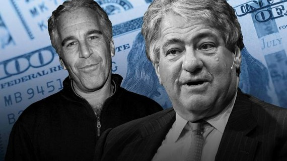 Leon Black, right, co-founder of Apollo Global Management, leaned on Jeffrey Epstein, left, as an 'architect' of the private office that managed his investments © FT montage; Bloomberg, Patrick McMullan/Getty