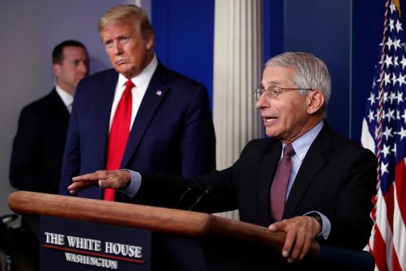Ông Fauci và ông Trump năm 2020.