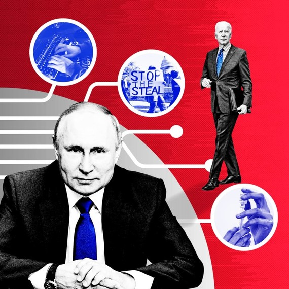 © FT montage; Getty Images; AP   The Russians are suspected of stirring dissent about US politics and the coronavirus