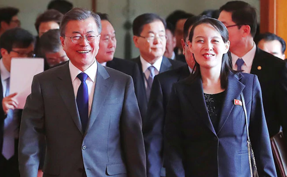 Tổng thống Moon Jae-in cùng bà Kim Yo Jong dự tiệc trưa tại Nhà Xanh năm 2018. Ảnh: Reuters