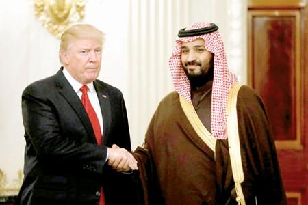 Tổng thống Donald Trump trong cuộc gặp với Phó Thái tử, Bộ trưởng Quốc phòng Saudi Arabia Mohammed bin Salman tại Nhà Trắng vào tháng 3-2017