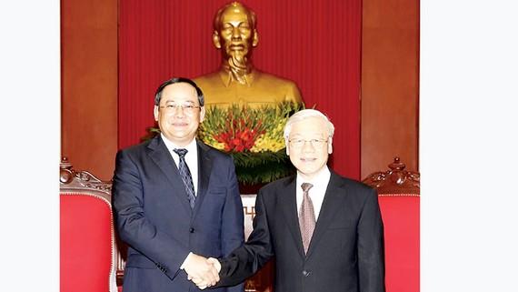 Tổng Bí thư Nguyễn Phú Trọng tiếp Phó Thủ tướng Lào Sonexay Siphandone thăm và làm việc tại Việt Nam