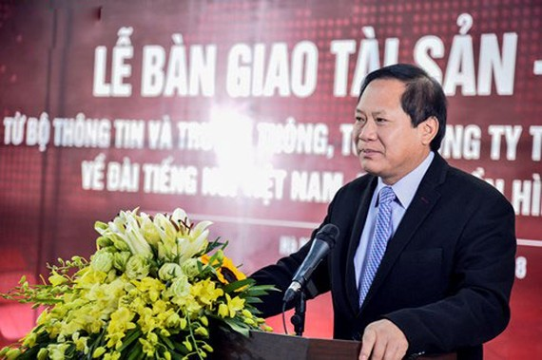 Bộ trưởng Bộ TT&TT Trương Minh Tuấn phát biểu tại buổi lễ bàn giao