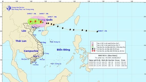 Đường đi và vị trí cơn bão Hato (nguồn: TTKTTVQG)