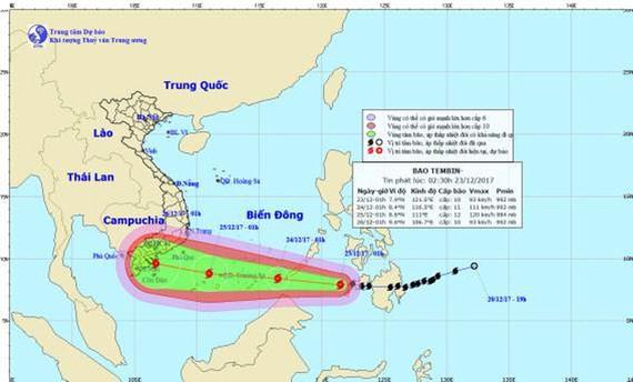 Đường đi và vị trí cơn bão. Ảnh: Trung tâm Dự báo khí tượng thủy văn Trung ương