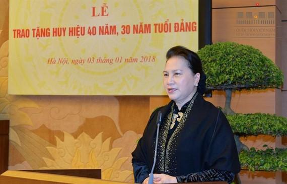 Chủ tịch Quốc hội Nguyễn Thị Kim Ngân phát biểu tại buổi lễ. Ảnh: Quochoi