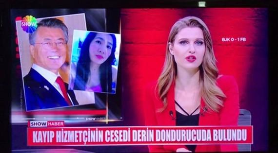 Hình ảnh cắt từ chương trình tin tức của đài truyền hình Thổ Nhĩ Kỳ Show TV ngày 25-2-2018 cho thấy ảnh Tổng thống Moon Jae-in được sử dụng trong một tin giết người. Ảnh: YONHAP