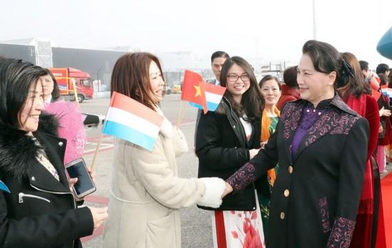 Đại diện cộng đồng người Việt tại Hà Lan đón Chủ tịch Quốc hội Nguyễn Thị Kim Ngân tại sân bay  quốc tế Schiphol, thành phố Amsterdam. Ảnh: TTXVN