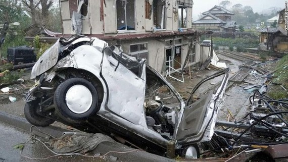 Cảnh hoang tàn sau khi siêu bão Hagibis đổ bộ ở Ichihara, Nhật Bản hôm 12-10. Ảnh:  Getty Images