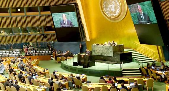 Ngoại trưởng Nga Sergei Lavrov phát biểu về an ninh mạng trước Đại hội đồng LHQ