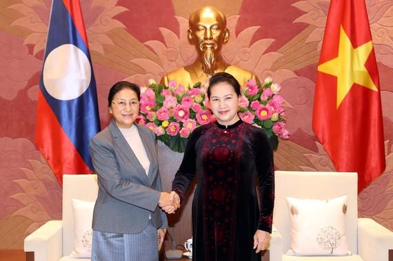 Chủ tịch Quốc hội Nguyễn Thị Kim Ngân hội kiến Chủ tịch Quốc hội Lào Pany Yathotou. Ảnh: TTXVN