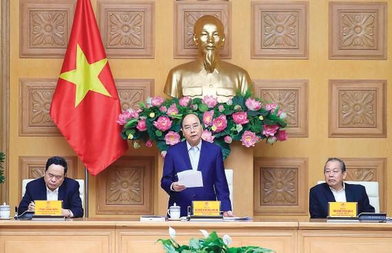 Thủ tướng Nguyễn Xuân Phúc, Trưởng Tiểu ban Kinh tế - xã hội phát biểu tại phiên họp lần thứ 6 của Tiểu ban. Ảnh: TTXVN