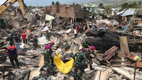 Thảm họa động đất và sóng thần tại đảo Trung Sulawesi năm 2018. Ảnh: EPA