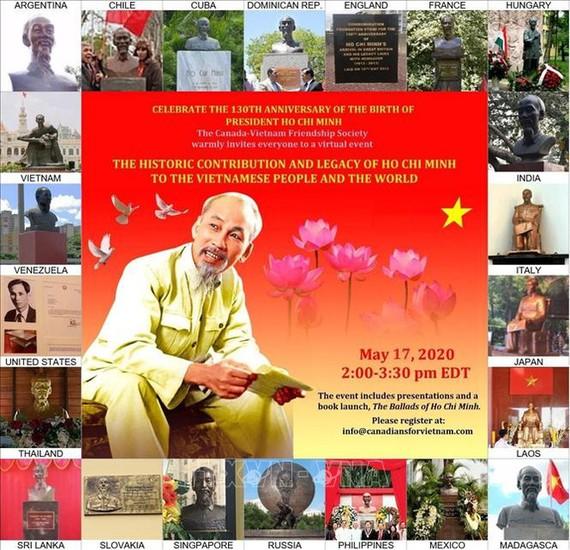 """Hội thảo online với chủ đề """"Di sản và đóng góp lịch sử của Chủ tịch Hồ Chí Minh đối với nhân dân Việt Nam và thế giới"""". Ảnh: Quang Thịnh/Pv TTXVN tại Canada"""