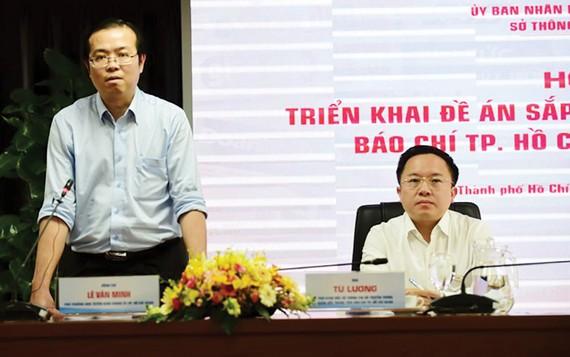 Phó Trưởng ban Thường trực Ban Tuyên giáo Thành ủy TPHCM Lê Văn Minh phát biểu chỉ đạo tại hội nghị triển khai đề án sắp xếp, phát triển và quản lý báo chí TPHCM đến năm 2025
