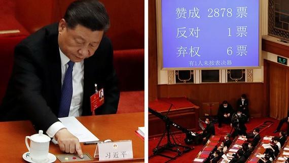 Chủ tịch Trung Quốc Tập Cận Bình bỏ phiếu về luật an ninh quốc gia cho Hồng Kông tại phiên họp bế mạc Đại hội đại biểu Nhân dân toàn quốc tại Bắc Kinh vào ngày 28 tháng 5. Ảnh: Reuters