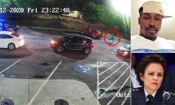Cảnh sát trưởng Atlanta Erika Shields (ảnh nhỏ ở dưới) từ chức hôm 13-6 sau vụ cảnh sát bắn chết Rayshard Brooks (ảnh nhỏ ở trên) bên ngoài cửa hàng Wendy vào tối ngày 12-6. Ảnh: Daily Mail