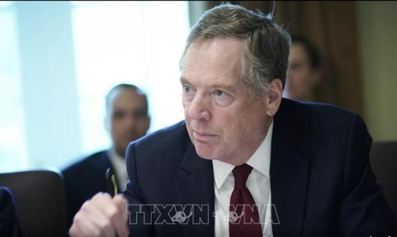 Đại diện thương mại Mỹ Robert Lighthizer phát biểu trong cuộc họp tại Nhà Trắng. Ảnh: AFP/TTXVN