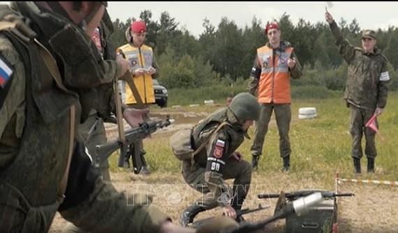 Lực lượng quân cảnh Nga tham gia cuộc tập trận Strazh 2020. Ảnh: Sputnik/TTXVN