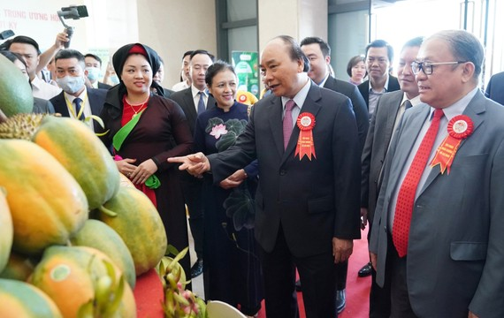 Thủ tướng Nguyễn Xuân Phúc tham quan khu triển lãm tại Đại hội Hội Nông dân Việt Nam. Ảnh: QUANG PHÚC