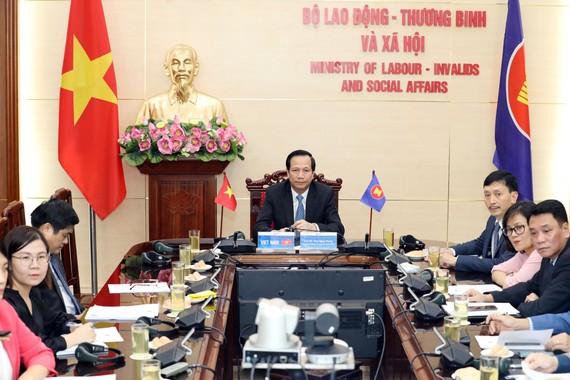 Hội nghị tại đầu cầu Bộ Lao động-Thương binh và Xã hội. Ảnh: VGP/Đỗ Hương