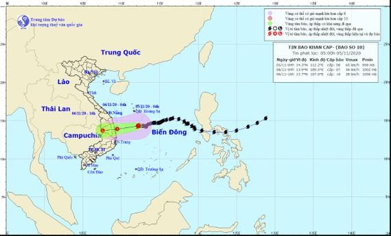 Vị trí và đường đi của bão số 10. Ảnh: TT Dự báo KTTV Quốc gia