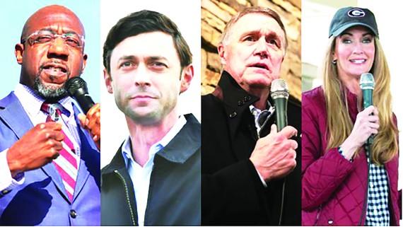 Các ứng viên tranh ghế Thượng viện Mỹ tại bang Georgia (từ trái qua phải): R.Warnock, J.Ossoff, D.Perdue và K.Loefflerm