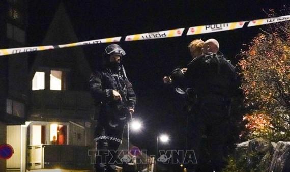 Cảnh sát Na Uy phong tỏa hiện trường vụ tấn công ở Kongsbers để phục vụ điều tra. Ảnh: AFP/TTXVN