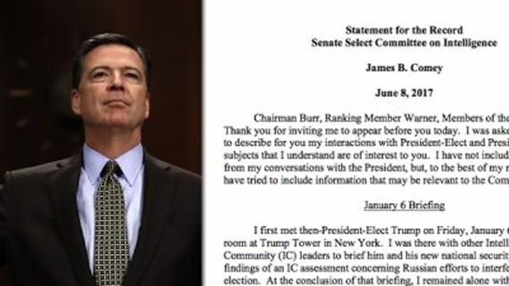 Cựu Giám đốc Cục Điều tra Liên bang Mỹ (FBI) James Comey cho biết trong văn bản điều trần rằng Tổng thống Donad Trump đã yêu cầu ông ngưng điều tra cựu Cố vấn An ninh Quốc gia Michael Flynn. Ảnh AP