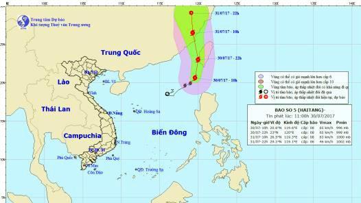 Đường đi và vị trí của cơn bão (nguồn: Trung tâm Khí tượng Thủy văn Quốc gia)