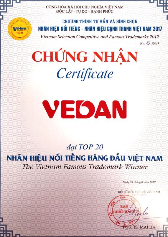 """Vedan Việt Nam lần thứ hai liên tiếp được vinh dự nhận giải """"Top 20 nhãn hiệu nổi tiếng hàng đầu Việ"""