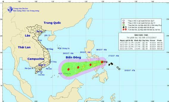 Đường đi và vị trí cơn bão. Nguồn: Trung tâm Dự báo khí tượng - thủy văn Trung ương
