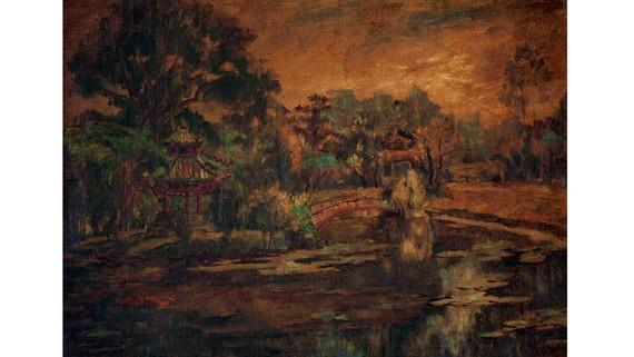Thủy tạ Thảo Cầm viên Sài Gòn (sơn dầu trên bố, trước 1975) của Hiếu Đệ có giá khởi điểm 5.000 USD