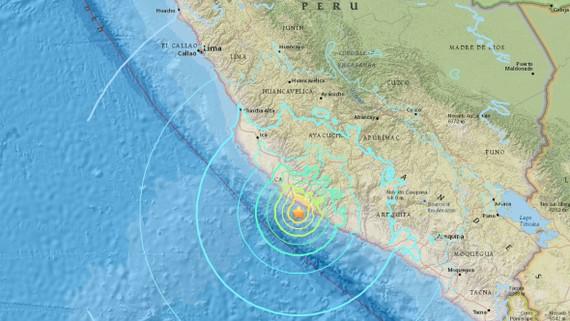 Tâm chấn động đất ngày 14-1-2018 ở Thái Bình Dương, cách TP Acari ở Arequipa, Nam Peru, khoảng 40 km. Ảnh: USGS