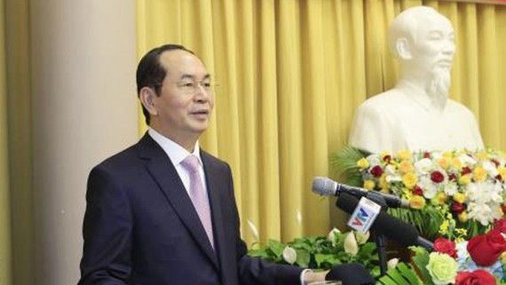 Chủ tịch nước Trần Đại Quang phát biểu tại hội nghị. Ảnh: TTXVN