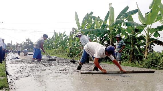Đường nông thôn được thảm bê tông ở Long An