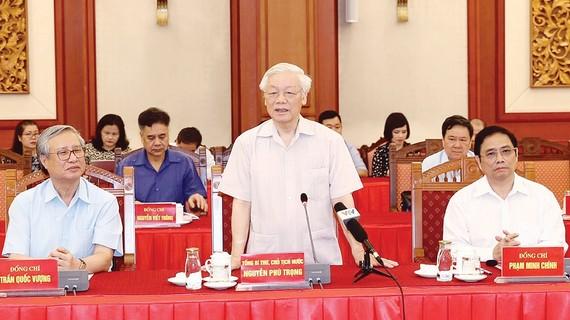 Tổng Bí thư, Chủ tịch nước Nguyễn Phú Trọng, Trưởng Tiểu ban Văn kiện Đại hội XIII của Đảng, phát biểu khai mạc hội nghị. Ảnh: TTXVN