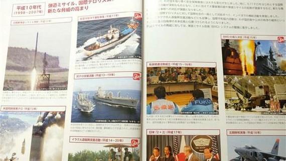Nội dung trong Sách trắng Quốc phòng của Nhật Bản. Ảnh: Bùi Hồng Hà/TTXVN