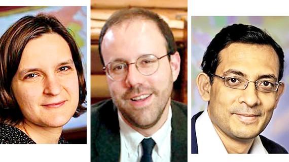 Các chủ nhân của giải Nobel Kinh tế 2019 (từ trái qua): Esther Duflo, Michael Kremer và Abhijit Banerjee