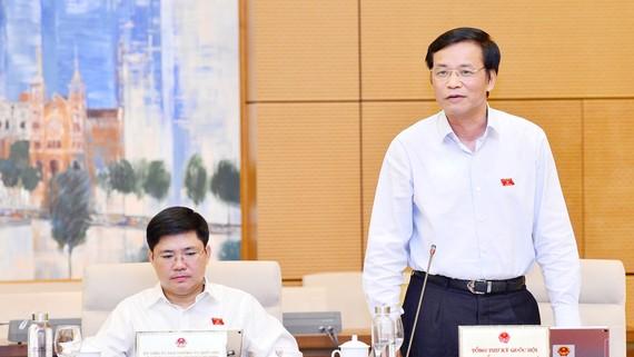 Tổng Thư ký, Chủ nhiệm Văn phòng Quốc hội Nguyễn Hạnh Phúc phát biểu. Ảnh: TTXVN